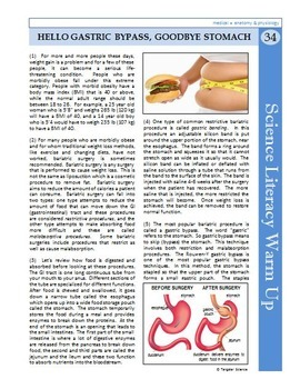 Science Literacy Reading #34 - Hello Gastric Bypass, Goodbye Stomach - Sub Plan