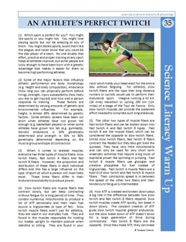 Science Literacy Reading #35 - An Athlete's Perfect Twitch - Science Sub Plan