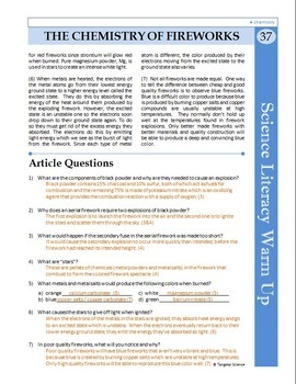 Science Literacy Reading #37 - The Chemistry of Fireworks - Science Sub Plan