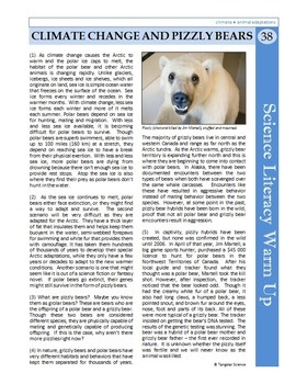 Science Literacy Reading #38 - Climate Change & Pizzly Bears - Science Sub Plan