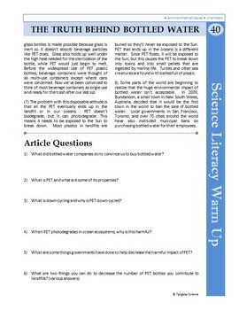 Science Literacy Reading #40 - The Truth Behind Bottled Water - Science Sub Plan