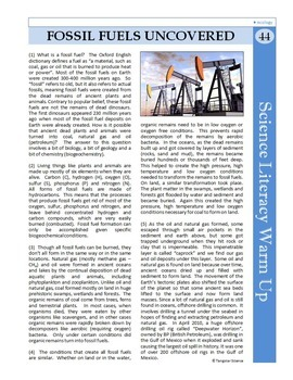 Science Literacy Reading #44 - Fossil Fuels Uncovered - Science Sub Plan