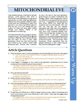 Science Literacy Reading #49 - Mitochondrial Eve - Secondary Science Sub Plan