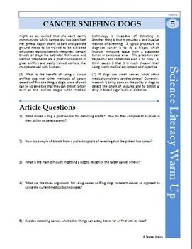 Science Literacy Reading #5 - Cancer Sniffing Dogs - Science Literacy Sub Plan
