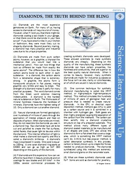 Science Literacy Reading #9 - Diamonds: Truth Behind the Bling- Science Sub Plan