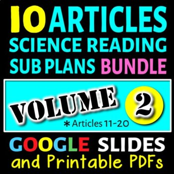 Science Sub Plans - Volume 2: Articles# 11-20 (Secondary S