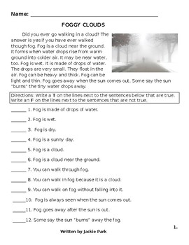 Science Reading Comprehension Lesson: Fog, Clouds, Rain, Snow, Hail 17 Questions