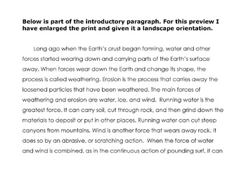 Reading Science Lesson Weathering & Erosion + 20 Reading Comprehension Questions
