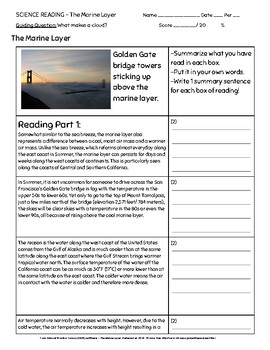 Science Reading - Marine Layer (2 readings with summary writing)