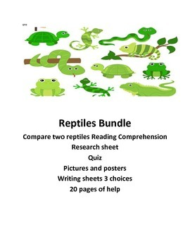 Science Reptile Bundle lessons........ Common Core Aligned