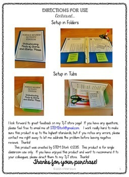 Science Review Activity Station: Parts of Atoms and Atomic Mass 8.5.A