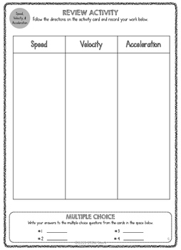 Science Review Activity Station: Speed, Velocity, and Acceleration 8.6.B