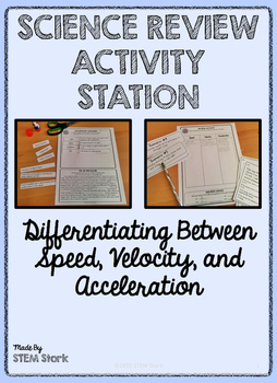 Science Review Activity Station: Speed, Velocity, and Acce