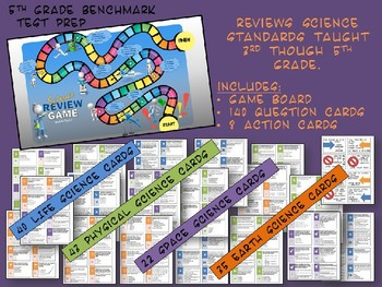 Science Review Board Game for Grade 5 State Benchmark Exam with 140 Game Cards