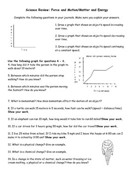 Science Review: Force and Motion/Matter and Energy