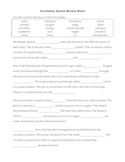 Science Review Sheet - Circulatory System (Cloze)
