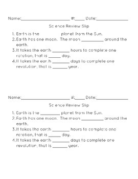 Science Review Slips