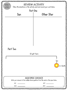 Science Review Station: The Sun and Stars in the Milky Way 8.8.B & 8.8.D