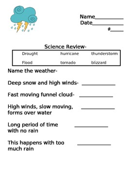 Science Review- Weather, Weathering and Erosion, Observation