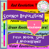 Force, Motion, SPEED & Motion Graphs SET:7-Station Review REVOLUTION wMiniBOOK
