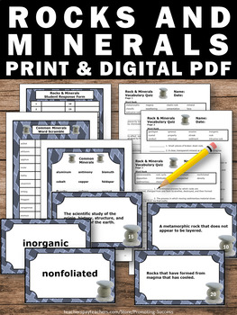 Rocks and Minerals Activities, 4th 5th Grade Science Review