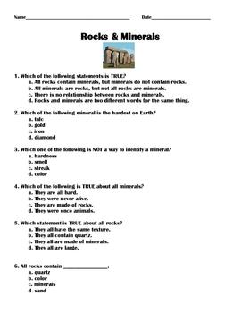 Science: Rocks and Minerals Quiz