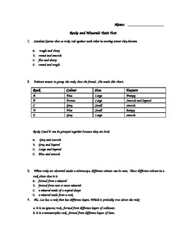 Science - Rocks and Minerals Unit Test