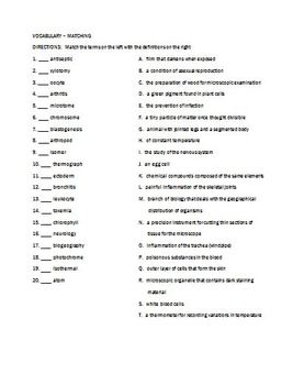 Science Root Word Vocabulary Assignment