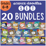Science Doodle 20 BUNDLE SET Grades 6 - 8, ALL YEAR, Fun and Engaging Notes