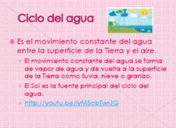 SPANISH Science-Lesson on Water (Water Cycle)