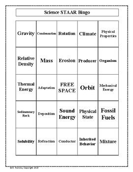 Science STAAR Bingo (TEKS 5.5 and 5.6)- 30 pre-made cards!!!