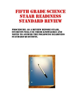Science STAAR Readiness Standards Review