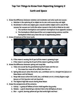 Science STAAR Reporting Category 3 Review Fact Sheet