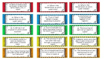 Science STAAR Review Labels for Jenga game