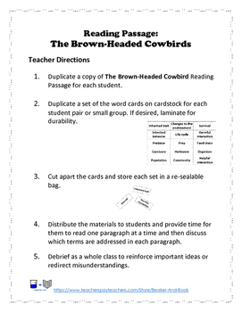 Science STAAR: The Brown-Headed Cowbird Life Science Review
