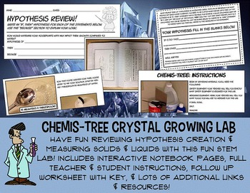 Science & STEM crystal growing lab hypothesis measuring 5th 6th 7th 8th jr high