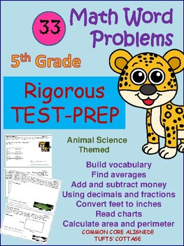 Sample 5th Math Word Problem-Science Safari Theme by Learning Lair