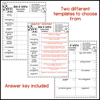 Science Safety Fun Interactive Vocabulary Dice Activity