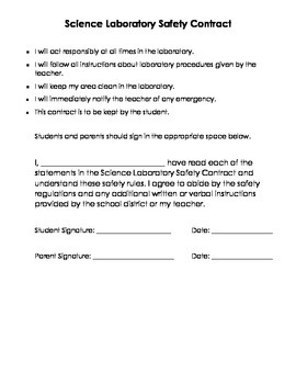 Science Safety Contract - Bilingual