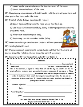 Science Safety Contract - Upper Elementary