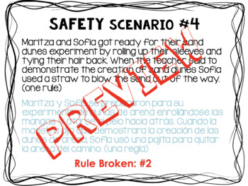 Science Safety Rules, Game, and Contract BILINGUAL Bundle