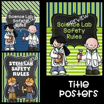Science  Safety Rules Posters in Lime and Navy