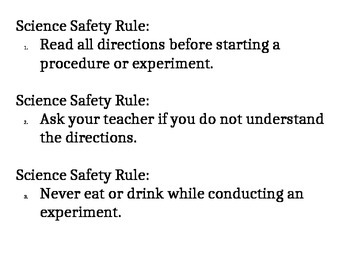 Science Safety Rules Project with Rubric