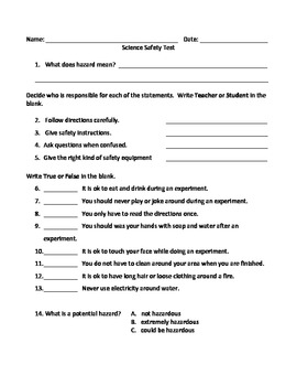 Science Safety Test