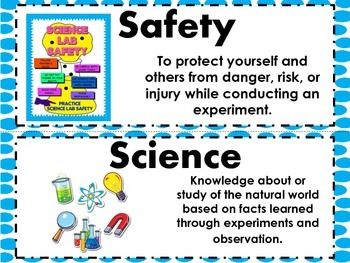 Science Safety and Tools Vocabulary Word Wall Cards 3.4AB