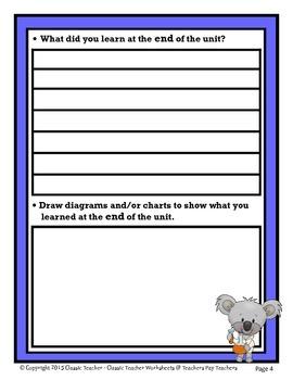 Science Unit Summary-Template-Grade 1/1st Grade Grade 2/2nd Grade-Beginner