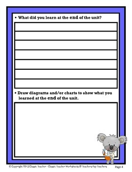 Science Unit Summary-Template-Grade 1/1st Grade Grade 2/2nd Grade-Beginner