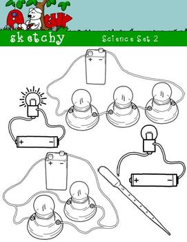 Science / Scientific 2 Clipart Graphics 300dpi Black Lined/Transparent and White