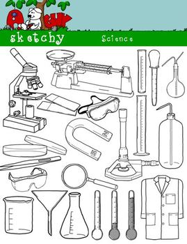Science / Scientific Clipart Graphics 300dpi Black Lined/Transparent and White