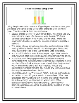 Science Scrapbook Activity/Project End of Year Reflection